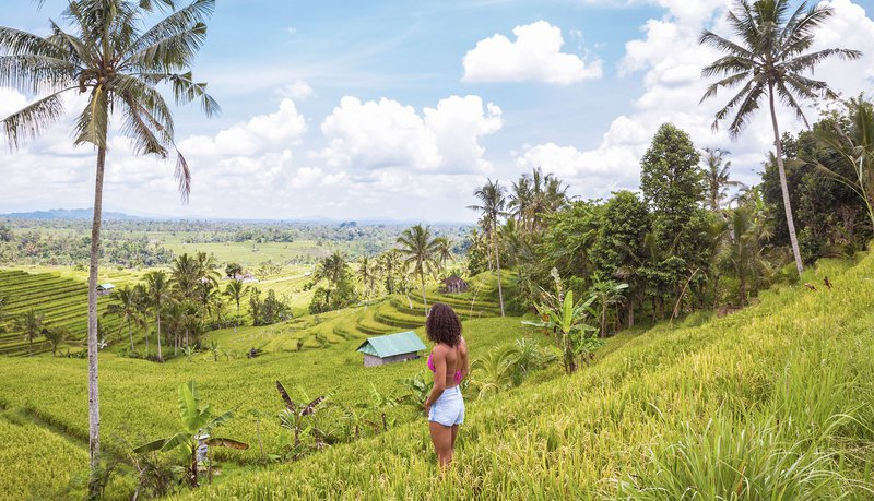 Intro Travel Bali Intro Group Tours Adventure Girl In Rice Paddies