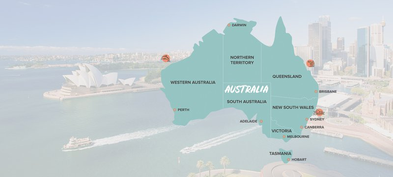 Intro Travel Oz Intro Group Tours Map Of Australia