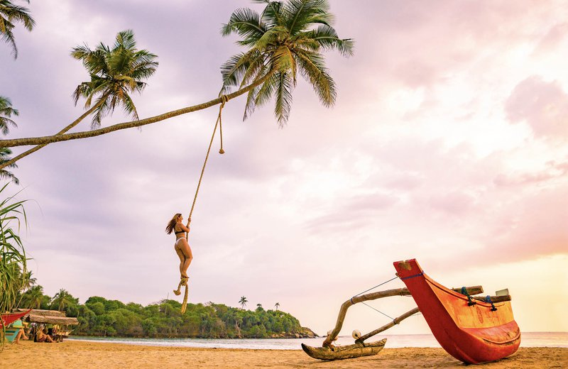 Sri Lanka Desktop Destinations Girl Swings Beach