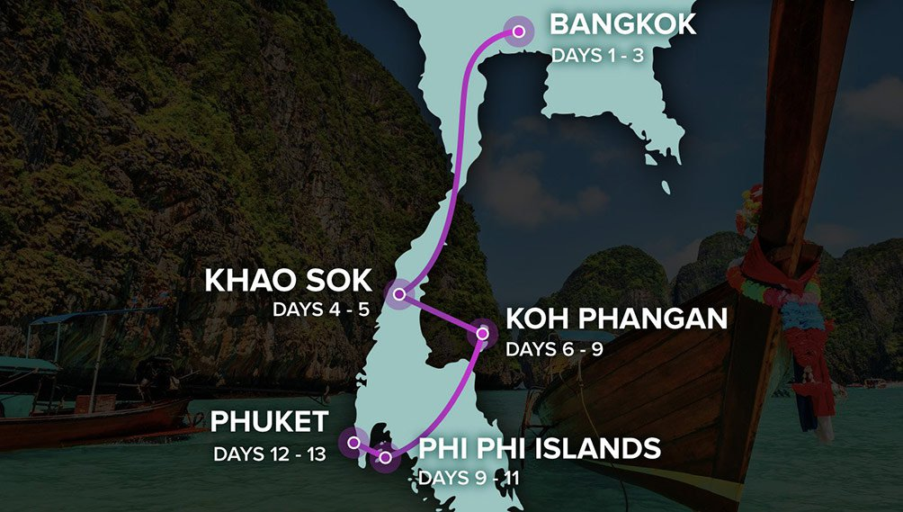 Thai Experience - Map of Thailand - Bangkok to Phuket