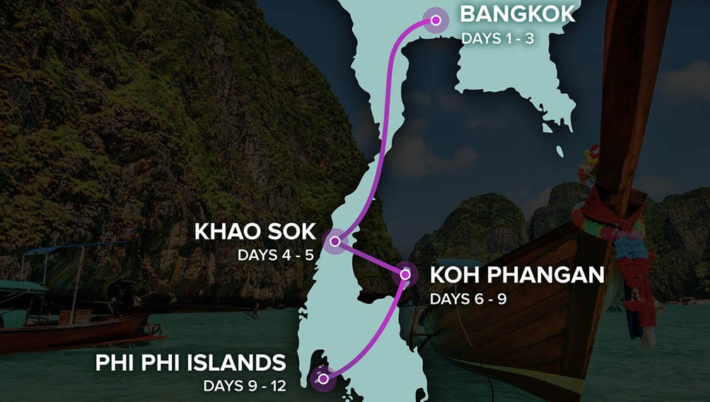 Thai Intro 12 Day - Map of Thailand - Bangkok to Phi Phi Islands