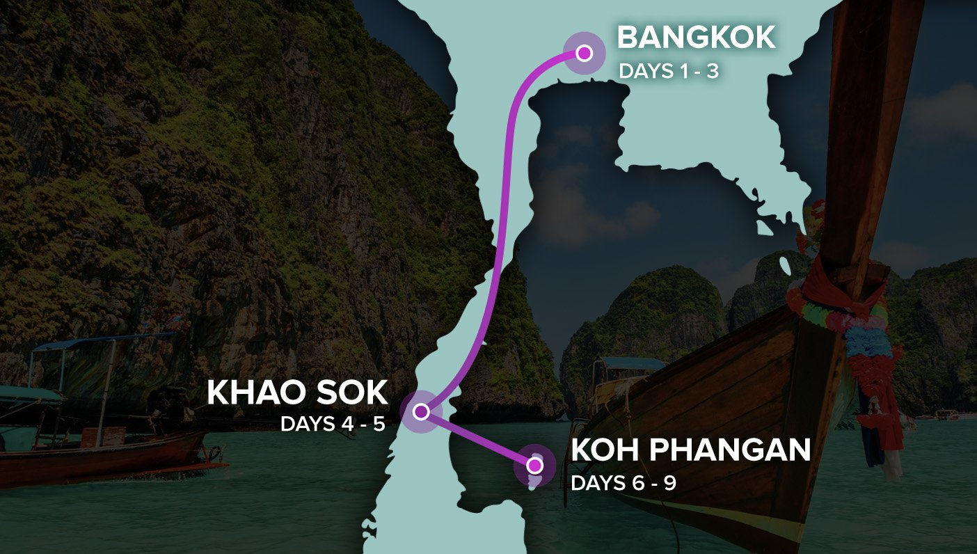 Thai Intro - Map of Thailand - Bangkok to Koh Phangan