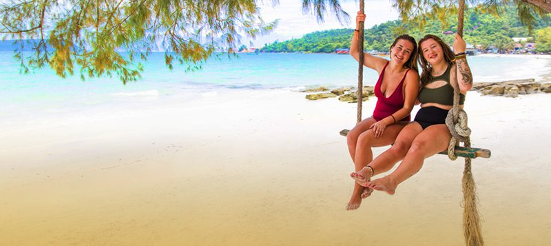 Intro Travel Vietnam And Cambodia Intro Group Tours Girls Swings Koh Rong