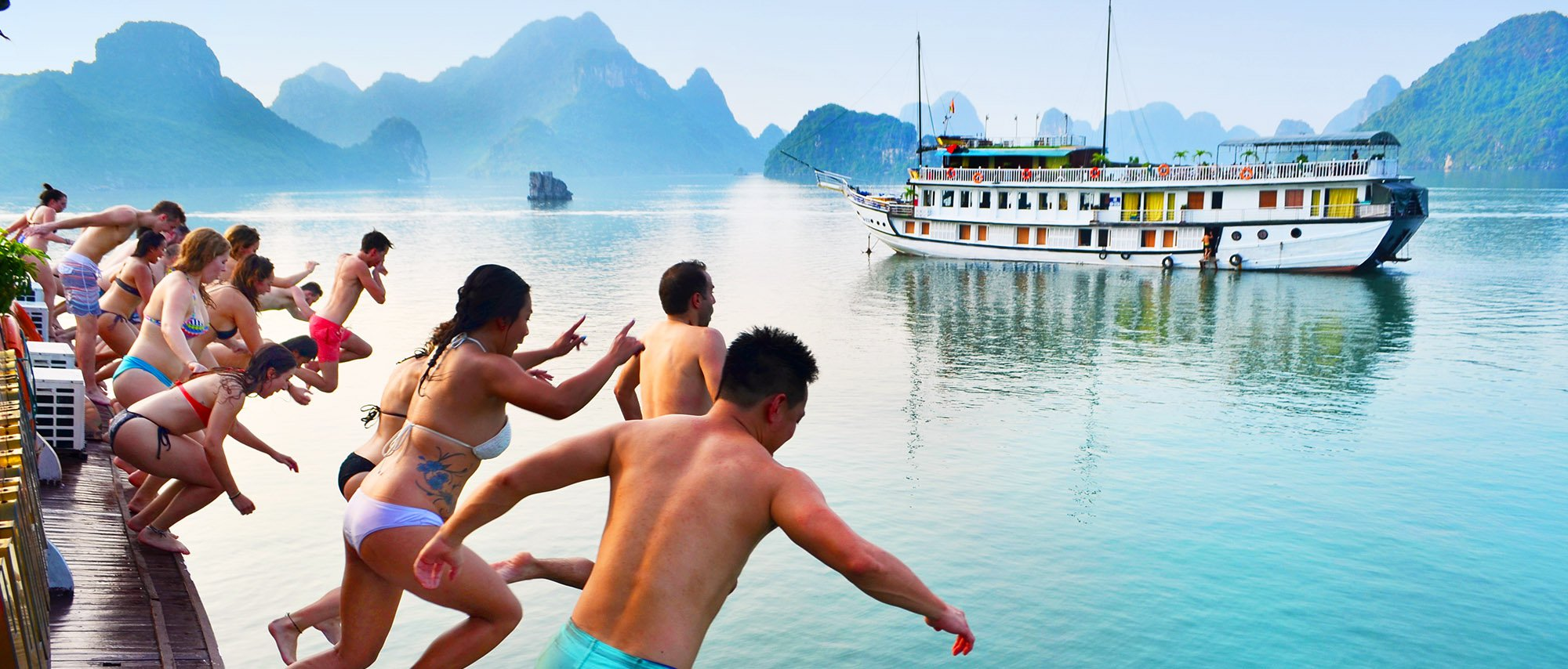 Intro Travel Vietnam Intro Group Tours Adventure Jumping Into Ha Long Bay