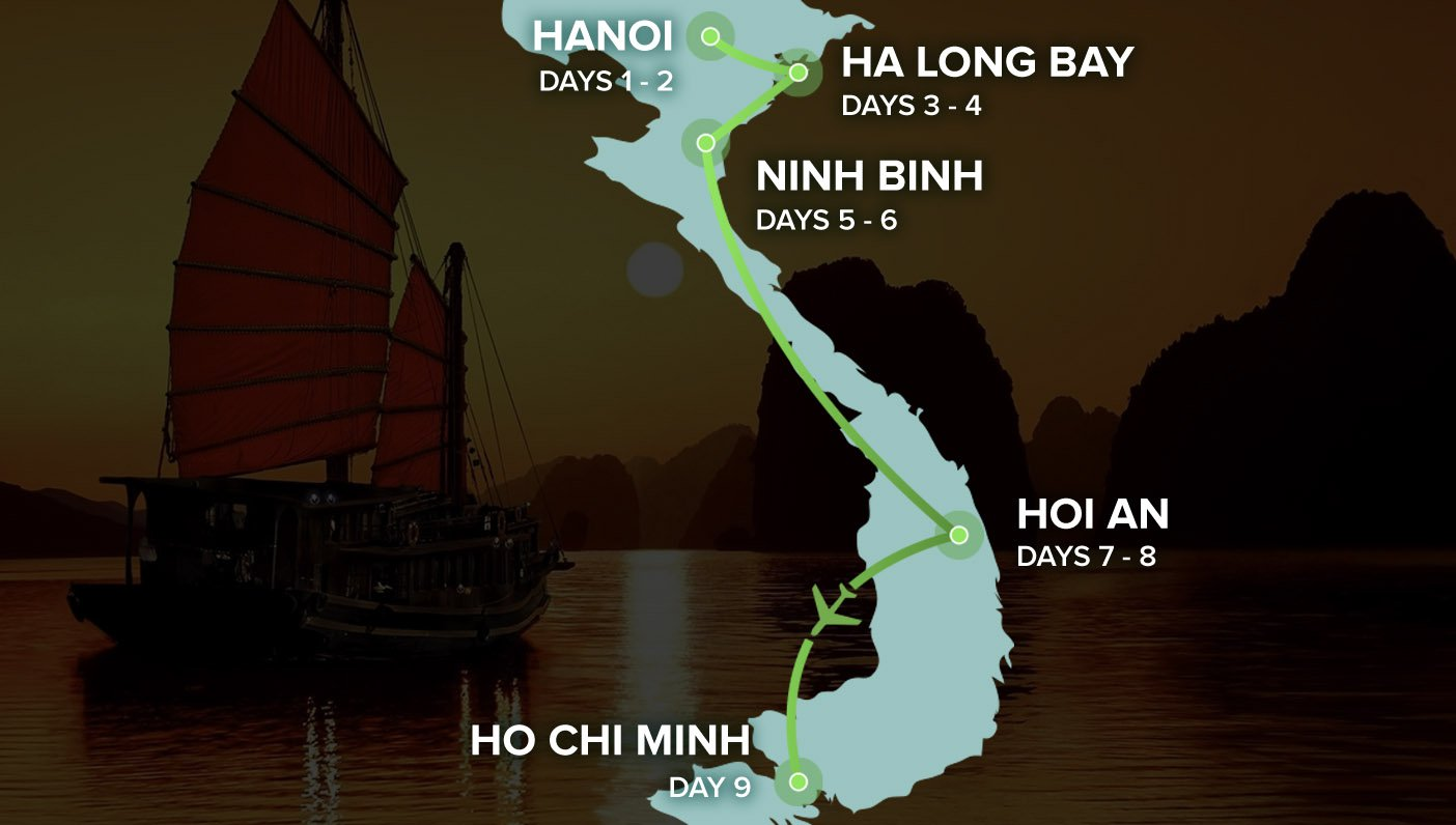Vietnam Intro 9 Day - Map of Vietnam - Hanoi to Ho Chi Minh City